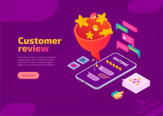 Landing page of customer review with funnel in isometric style