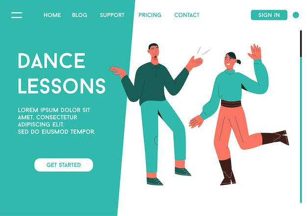 Landing page of dance lesson concept