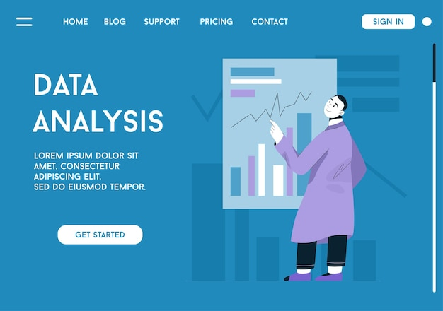 Landing page of data analysis concept