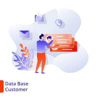 Landing page data base customer  illustration modern, digital marketing