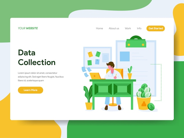 Landing page. data collection illustration concept