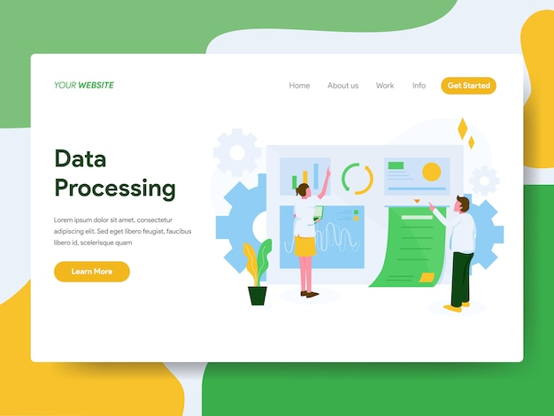 Landing page. data processing illustration concept