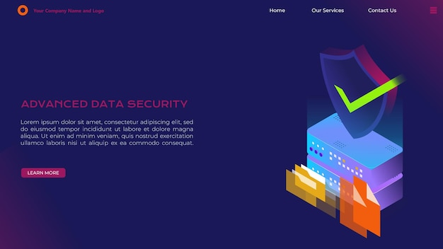 Landing page for data security