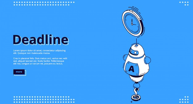 Landing page of deadline with chat bot and clock