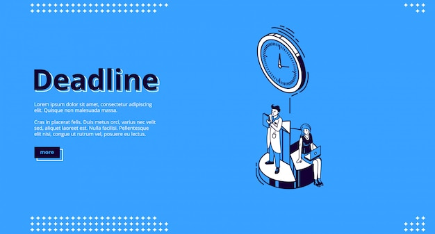 Landing page of deadline with clock and people