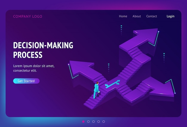 Landing page of decision making process