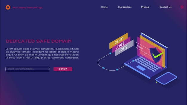 Landing page for dedicated domain in isometric style