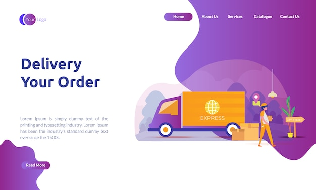 Landing page of delivery order