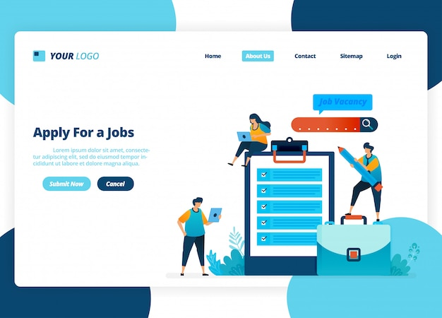 Landing page design of apply for jobs. selection of recruitment and job advertisements.