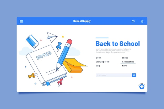 Landing page design back to school event