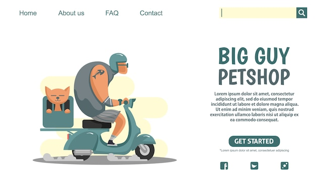 ランディングページのデザイン。猫、ペットショップ会社を運ぶ緑のスクータービンテージバイクに乗って大きな男。