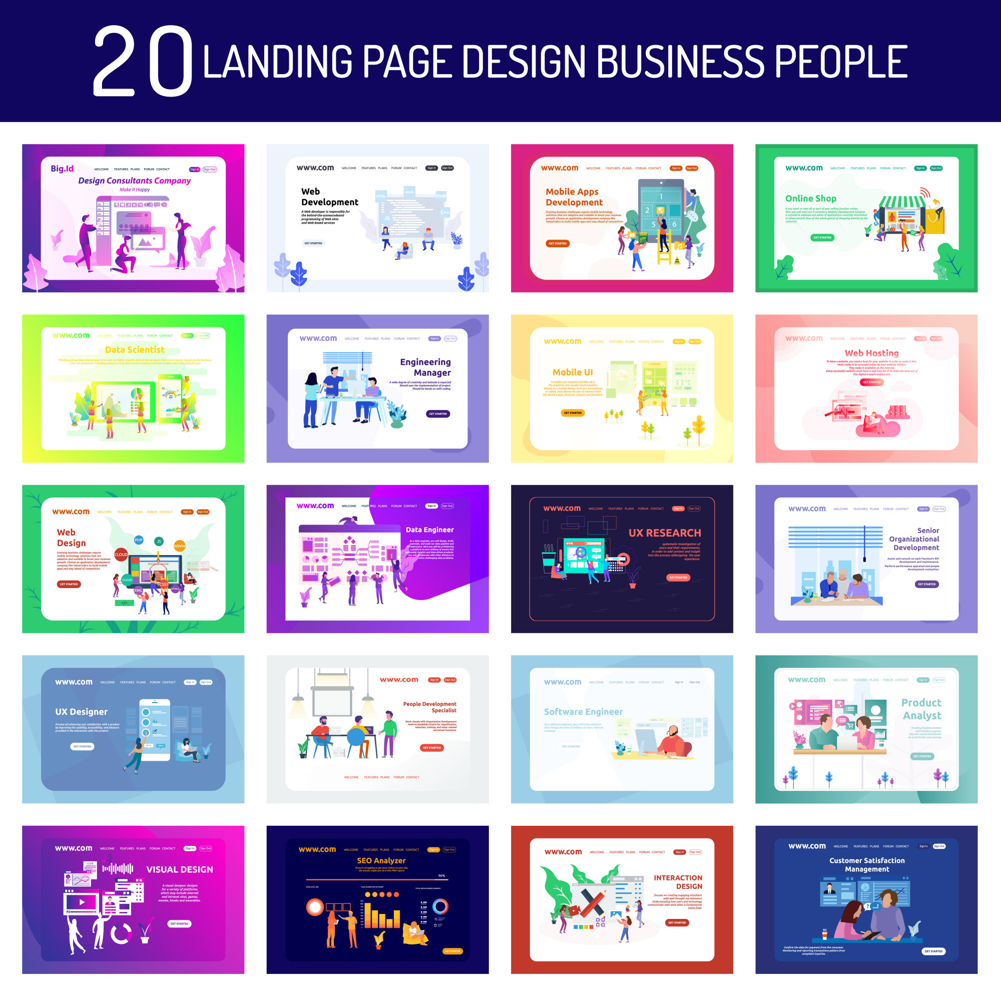 Landing Page Design Business People and Working People