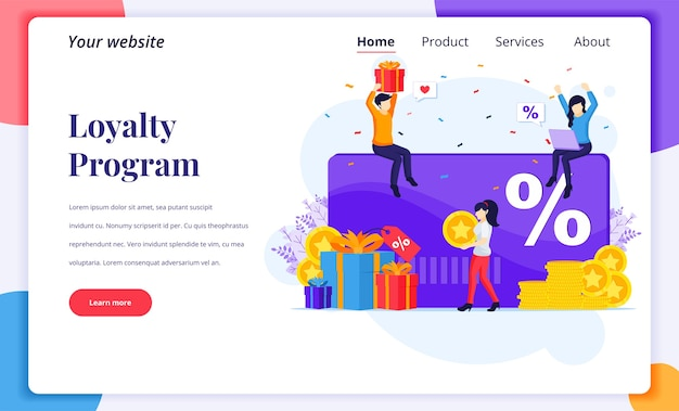 Landing page design concept of loyalty marketing program. people receives a gift box, discount and loyalty card, rewards card points, and bonuses