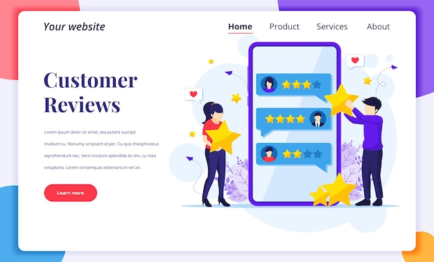 고객 리뷰의 랜딩 페이지 디자인 컨셉, 별 등급 및 피드백을 제공하는 사람들