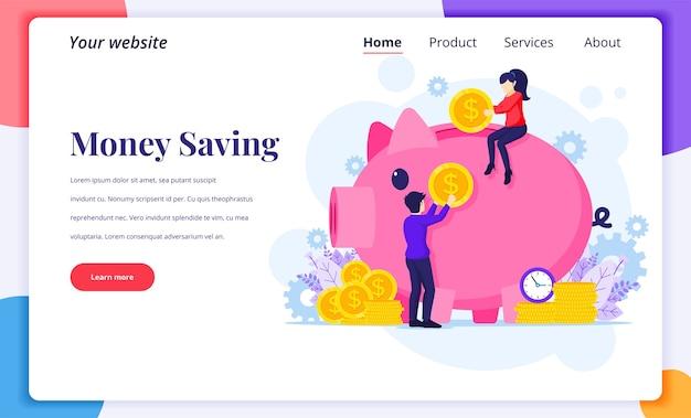 Концепция дизайна целевой страницы инвестиций, люди кладут деньги в гигантскую копилку, экономия денег