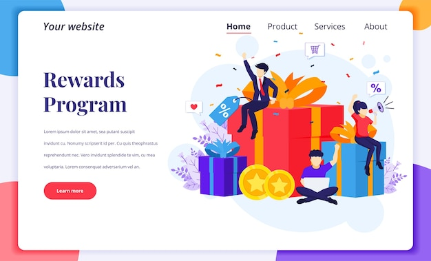 Концепция дизайна целевой страницы маркетинговой программы лояльности. люди рядом с большими подарочными коробками, скидками, бонусными картами и бонусами