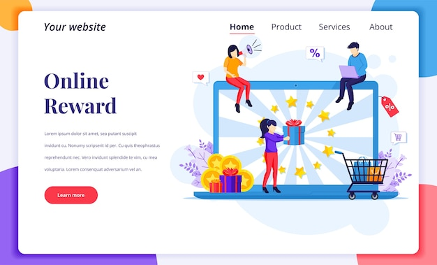 Концепция дизайна целевой страницы онлайн-вознаграждения. люди получают подарочную коробку от маркетинговой программы лояльности