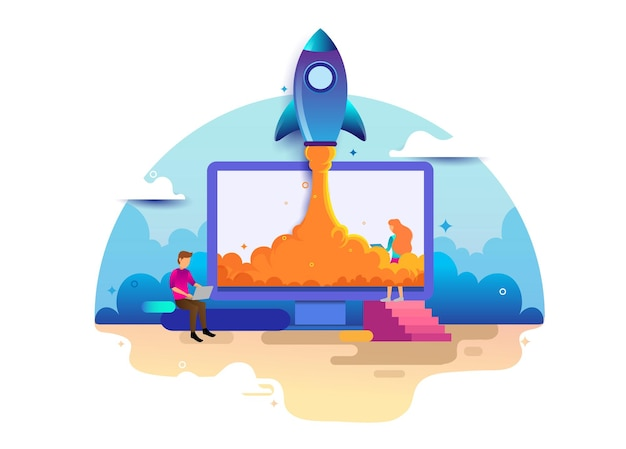 Landing page design concept of startup business, business strategy, analytics and brainstorming. vector illustration concepts for website design ui/ux and mobile website development.