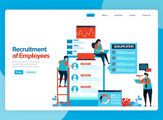 Landing page   design for illustration of employee recruitment. choose best prospective workers. flat cartoon