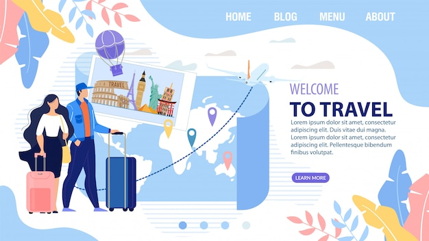 Landing page design inviting to travel vacation