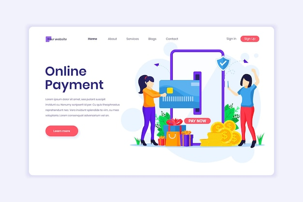 Landing page design of mobile payment women making a payment transaction illustration