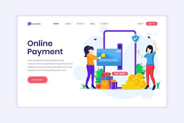 Дизайн целевой страницы мобильных платежных женщин, выполняющих платежную транзакцию