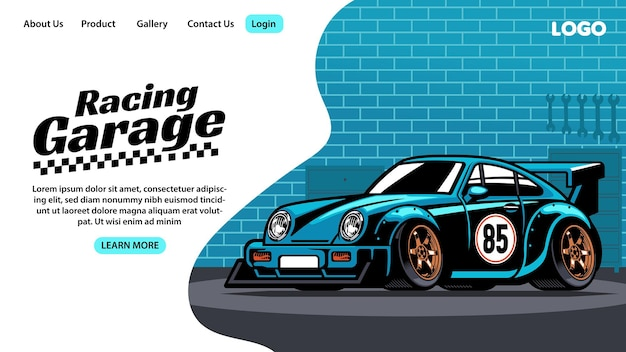 レーシングカーガレージのランディングページのデザイン