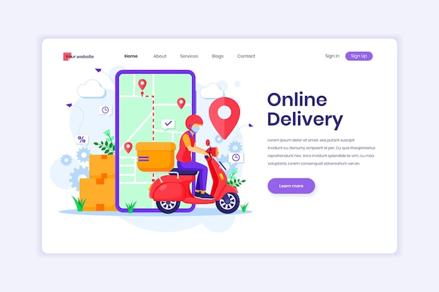 Landing page design of online delivery with a delivery man using scooter wearing mask illustration