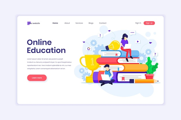 Landing page design of online learning webinar and online education with characters illustration