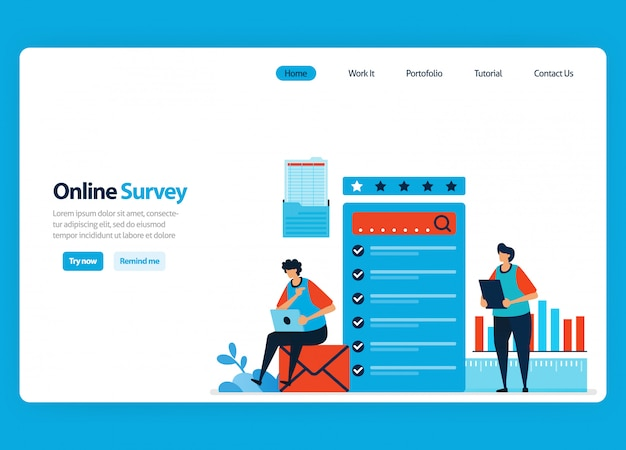 Landing page design for online survey and exam, filling out surveys with internet and validation software. flat illustration