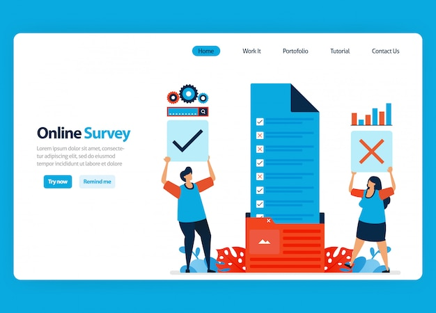 Landing page design for online survey and exam, organizing survey documents to workflow folder. flat cartoon illustration
