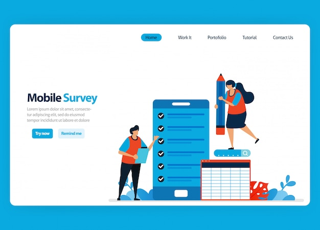 Landing page design for online survey and exam, reviewing customer satisfaction and user rating with mobile survey apps. flat illustration