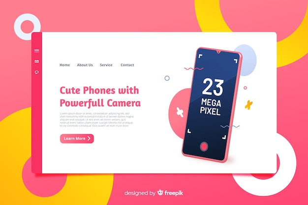 Landing page design for phones