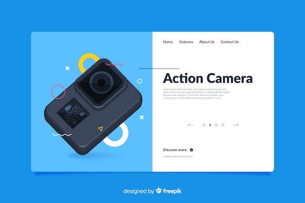 Landing page design for photo camera