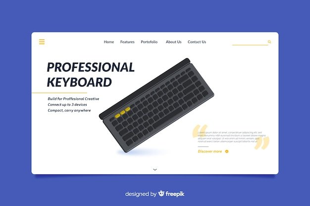 Landing page design for professional keyboards
