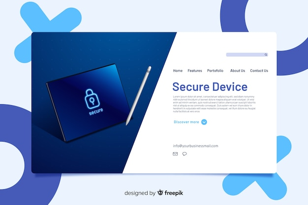 Landing page design for secure service