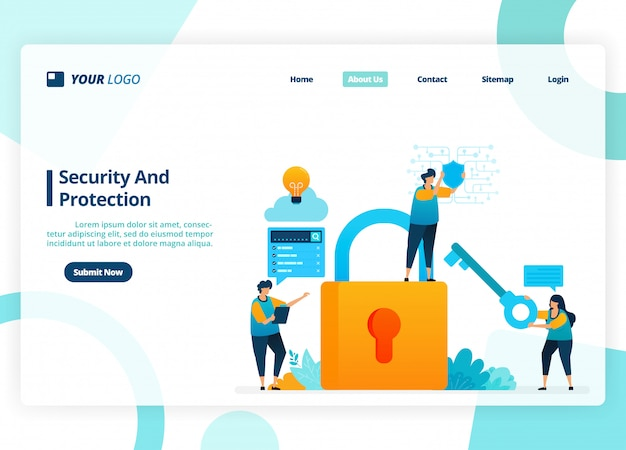 Landing page design of security and protection. security system with a password.