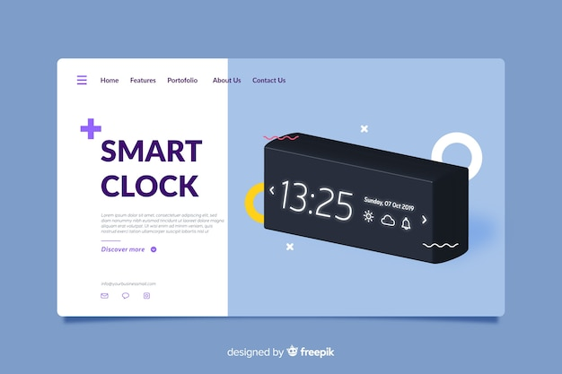 Landing page design for smart clocks