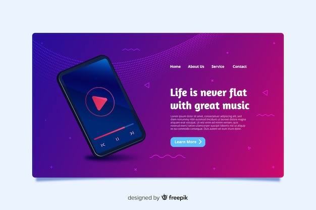 Landing page design for smartphones