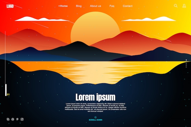 Landing page design in sunset sky concept