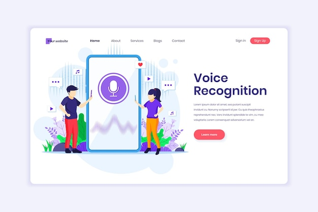 Landing page design of voice recognition digital voice assistant with characters illustration
