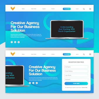 Landing page design with gradient on color and laptop vector