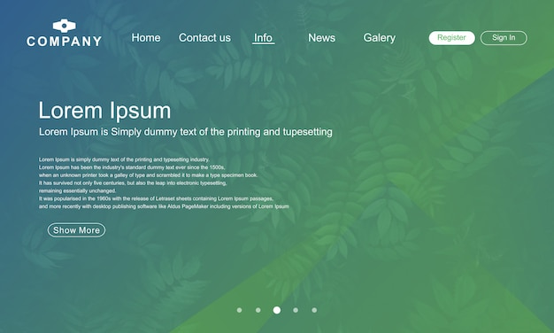 Landing page design with green nature abstrack background