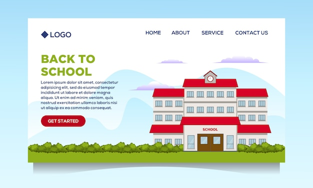 Landing page design with school illustration, back to school event