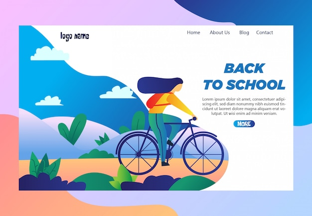 Landing page design  with simple illustration of girls ride bicycles go to school