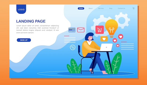Landing page development website landing page