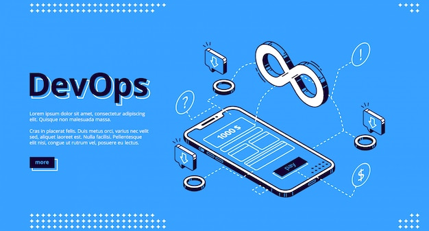 Landing page of devops, development operations