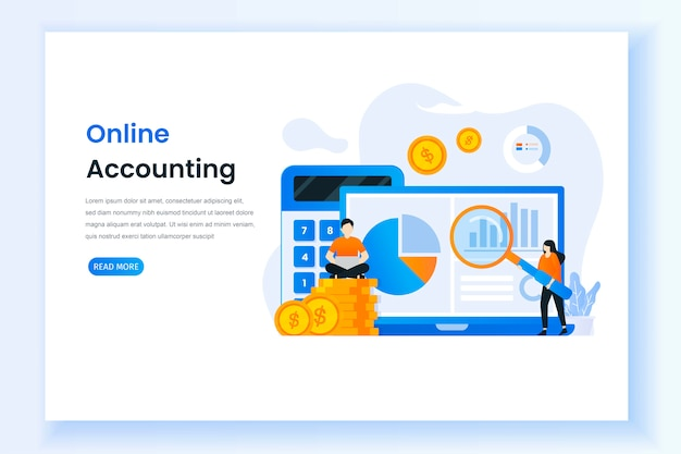 Landing page for digital accounting illustration