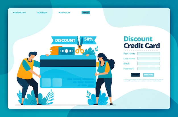 Landing page   of discount credit card.