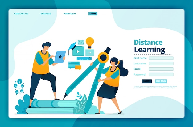 Landing page   of distance learning.